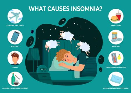 Insomnia causes infographics. Sleeping disorder reasons, man dont sleep at night and counts sheep vector illustration. Smoking and caffeine, stress or blue, light, crossing time zone Vector Illustration