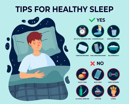 Healthy sleep tips infographics. Causes of insomnia, good sleep rules and man sleeps on pillow vector illustration. Healthy care recommendation for good sleep Vecteurs
