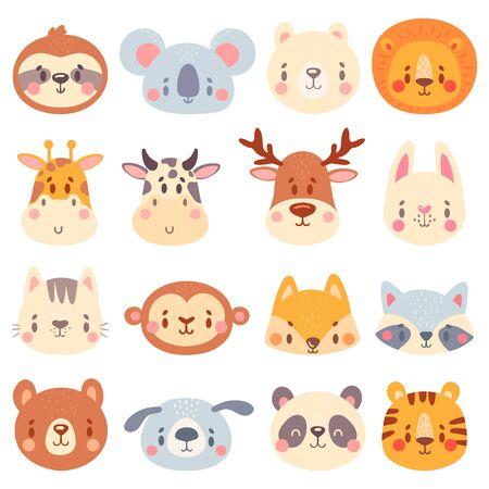 Cute animal faces. Color animal portraits, cuteness tiger, funny bunny head and funny fox face vector illustration set. Bear giraffe panda, koala and rabbit, tiger mascot Vector Illustration