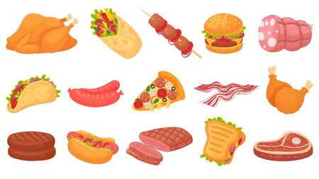 Cartoon meat food. Fried chicken legs, burger and grilled steak. Beacon, hot dogs and sausages. Burrito, taco and sandwich vector illustration set. Steak barbecue, beef cooking, pizza and drumstick Ilustración de vector