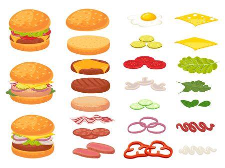 Cartoon burger ingredients. Hamburger, chop bun and tomato. Ham, fresh pickles and cheese slices. Fast food constructor vector illustration set. Sandwich burger and cheeseburger and ingredient Vetores