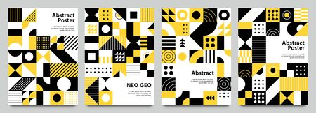 Neo geometric posters. Modern grid pattern with geometrical shapes. Abstract yellow, white and black backgrounds vector set. Geometric brochure yellow and white, geo pattern bright illustration Ilustração