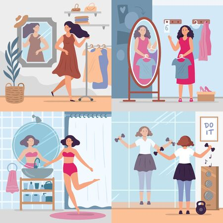Girl looking in mirror. Women in stylish dressing room, bathroom and gym look in mirrors. Happy reflection in mirror vector illustration set. Woman looking to mirror, attractive and fashionable female