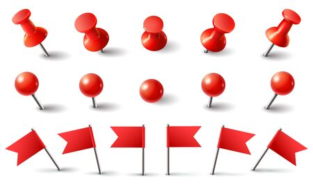 Red pushpin, flag and thumbtack. Isolated vector set. Red thumbtack, pushpin and needle marking, push button attach illustration Vektorové ilustrace