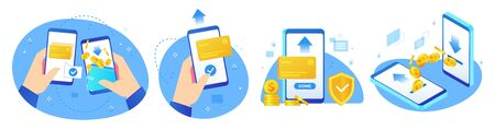 Money transfers. Online shopping, digital payments and hand handing phone with coins transfer app vector illustration set. Payment business, finance shopping label collection Ilustrace