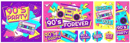 Retro 90s music party poster. Back to the 90s, nineties forever banner and retro funky pop radio badge vector illustration set. Music cassette 90s, trendy sound flyer Stock Illustratie