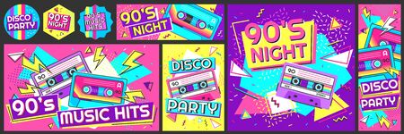 Funky 90s disco party poster. Nineties music hits banner, 90s dancing night invite and retro stereo tape vector illustration set. 90s stereo poster and flyer, music trend dancing
