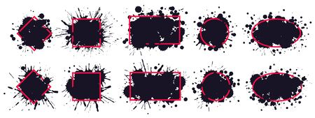 Ink splatter frame. Dirty brush splatted stains, black paintbrush splash frame grunge sprayed inks drips borders vector. Red frame paintbrush, splatted and sprayed, black monochrome drip illustration Stock Illustratie