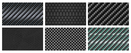 Seamless carbon fiber texture. Black metallic fibers pattern, sports carbon weave realistic vector background. Illustration fiber pattern, industry construction carbon Stock Illustratie