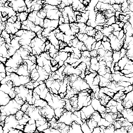 Craquelure pattern. Grunge cracks, cracked painted wall and ground crack texture seamless vector illustration. Broken ground textured, grunge surface pattern Vettoriali