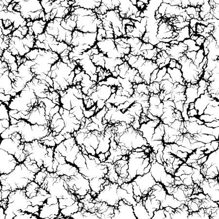 Craquelure pattern. Grunge cracks, cracked painted wall and ground crack texture seamless vector illustration. Broken ground textured, grunge surface pattern