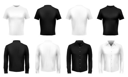 Realistic t-shirt and shirt mockup. Formal male uniform, black wearing and white shirts. Realistic 3D clothes vector template set. Illustration shirt with sleeve, front tshirt realistic