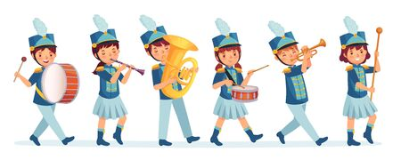Cartoon kids marching band parade. Child musicians on march, childrens loud playing music instruments cartoon vector illustration. Entertainment parade, performer drum and music band Ilustración de vector