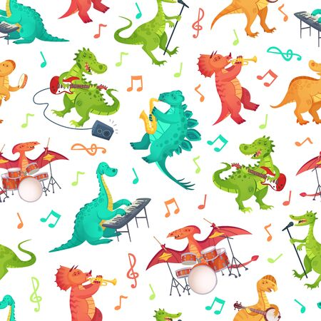 Seamless cartoon music dinosaurs pattern. Dino band, cute dinosaur playing music instruments and rockstar tyrannosaurus vector illustration. Dinosaur rock musician, musical playing guitar Stock Illustratie