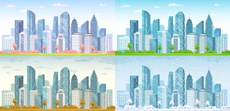 Urban city seasons. Spring town, summer, autumn urban panorama and cold winter cityscape vector background illustration set. City urban spring season, outdoor landscape summer Stock Illustratie