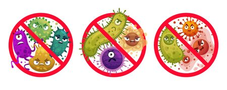 Bacteria in prohibition sign. Comic crossed out microbes and viruses, bacterial protection and disinfection caution icon cartoon vector illustration set. Stop infection, epidemic and flu prohibition