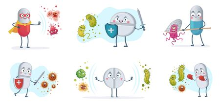 Antibiotic fight bacteria and virus. Strong antibiotics pills with shield protect from bacterias, medical pill vs viruses vector cartoon illustration set. Medical antibiotic character care with shield