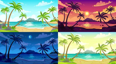 Daytime beach landscape. Sunny day seascape, night ocean and sunset beach cartoon vector illustration set. Beach landscape, outdoor travel scene sea daytime