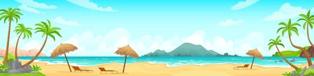 Daytime beach landscape. Sandy beaches with tropical palms. Sunny day, on beautiful sunset, sunrise and at night cartoon vector illustration. Landscape outdoor, travel scene daytime, vacation tropical