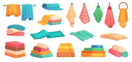 Fabric bath towels. Colorful clean bathtub towel, soft textile and stack of towels cartoon vector set. Illustration fabric fluffy and cotton, hygiene beach towel Stock Illustratie