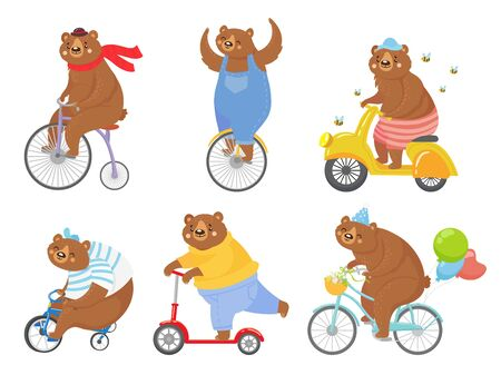 Cartoon biked bear. Bears on children tricycle, unicycle and retro bicycle. Animal riding bike, bicycles and scooter vector illustration set. Bear animal bike, bicycle transportation, cycling animal