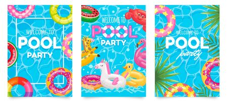 Pool party poster. Welcome to pool party flyer with swimming pool, floating rings and tropical leaves vector set. Pool summer party, poster or banner illustration Stock Illustratie