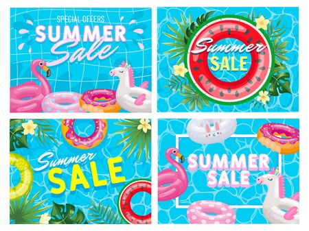 Summer sale banner. Summer pool deal flyer, fancy pink flamingo and watermelon floating ring special offer vector illustration set. Discount and sale poster, banner flyer special offers Stock Illustratie
