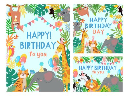 Cartoon happy birthday animals card. Congratulations cards with cute safari or jungle animals party in tropical forest vector illustration set. Congratulation card, happiness africa animals frame Stock Illustratie