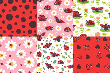Cartoon ladybug seamless pattern. Ladybird texture, ladybugs in flowers and cute red bug vector illustration set. Cute pattern ladybug, ladybird background with flower chamomile Stock Illustratie