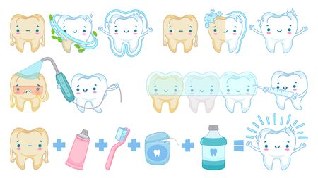Cartoon teeth whitening. White clean tooth mascot, tooth brushing and sad yellow teeth vector illustration set. Healthy dental whitening, smiling mouth and clean teeth