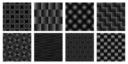 Seamless halftone geometric pattern. Dotted texture, abstract circle shapes and elegant black and white patterns vector set Stock Illustratie