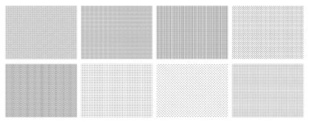 Seamless halftone dots pattern. Dotted mosaic, sport textile texture and row holes grid vector background patterns set. Halftone wallpaper, graphic point polka illustration Stock Illustratie
