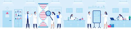 Genetic research laboratory. Professional lab with scientists, genome and biological researches vector illustration. Laboratory research and medicine biotechnology Stock Illustratie