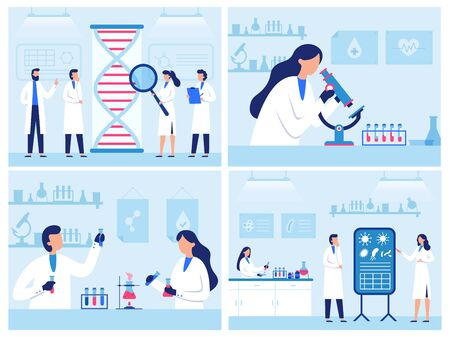 Scientists work in laboratory. Professional genetic research lab, virus and blood researches. Water quality diagnostics vector illustration set. Virus medical research test, hospital professional lab