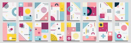 Abstract neo memphis background. Modern geo grid poster template with 1980 lines texture and dotted pop pattern vector set. Illustration line and texture, dotted abstract background modern