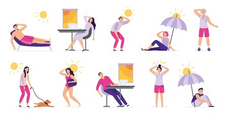 People suffer from heat. Sunstroke, summer hot weather and overheating. Sweaty people overheated in sun vector illustration set. Summer sunstroke, heatstroke and dehydration