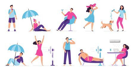 People cooling in hot weather. Rest from hot summer weather, eat ice cream and cool under fan. Siesta, air conditioning vector illustration set. Weather temperature, people cooling and conditioning