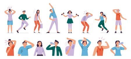 Sweating people. Sweaty man with wet underarms, gymnastically tired girl and unpleasant underarm smell vector set. Man and woman sweat, sweaty and sweating body illustration Illustration