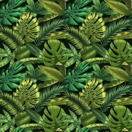 Green tropical leaves seamless pattern. Color monstera and tropic palm leafs, botanical garden floral vector illustration. Seamless exotic tropic, jungle green decoration Stock Illustratie