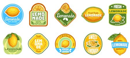 Lemonade label. Natural lemon juice, fresh fruits lemonades drinks badge and summer sweet beverage sticker vector set. Fruit summer beverage juice, citrus badge sticker illustration