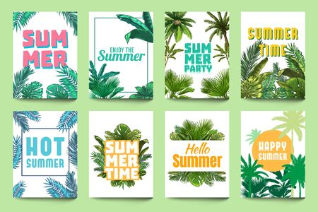 Abstract summer poster. Enjoy summer, party invitation and hello summer flyer art with tropical palm leaves and monstera leafs vector set. Hello summer enjoy, tropical summertime illustration