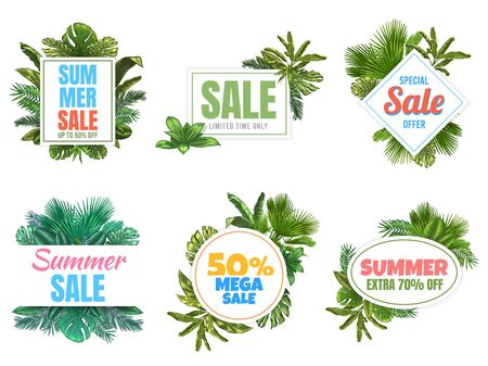 Summer sale badges. Abstract sale poster with tropical leaves, floral frame label and summer offer badge vector set. Summer promotion tropical, seasonal leaf label illustration