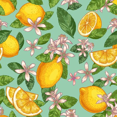 Lemon blossom seamless pattern. Hand drawn yellow lemons with green leaves and citrus flowers. Botanical garden fruits vector illustration. Lemon seamless blossom, wallpaper background repeat