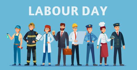 Labour day. Professional workers group, happy professionals of different jobs standing together and Labor Day poster or greeting card vector illustration. Labor day, people standing man and woman