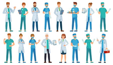 Hospital staff. Clinic workers, pharmacist, nurse in uniform and ambulance doctors characters cartoon vector illustration set. Medical staff, pharmacist and physician doctor, paramedic and chemist