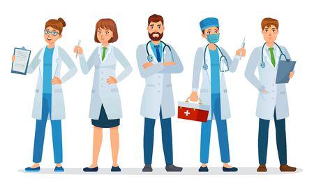 Ärzte-Team. Beschäftigte im Gesundheitswesen, medizinische Krankenhauskrankenschwester und Arzt mit Stethoskop stehen zusammen Cartoon-Vektor-Illustration. Medizinischer Mitarbeiter des Teams mit Stethoskop, medizinisches Uniformarztteam