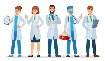 Doctors team. Healthcare workers, medical hospital nurse and doctor with stethoscope standing together cartoon vector illustration. Team medical worker with stethoscope, medical uniform doctor team