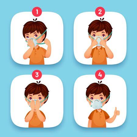 Instrucciones de uso de máscara. Instrucciones para la cara de la máscara de protección pasos correctos del orden vestido con máscara médica. Ilustración vectorial