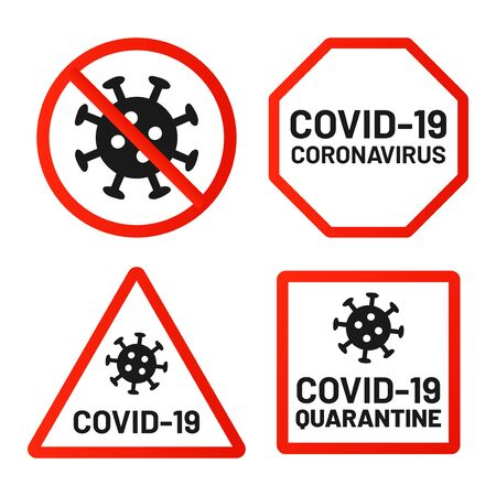 Covid-19 signs ban, attention and warn. Quarantine 2019-ncov, danger coronavirus, warning virus epidemic in red square, octagon forms. Vector illustration