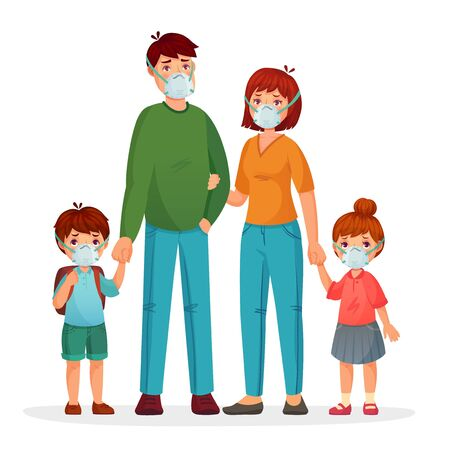 Family in protective face masks against pollution and coronavirus, health medical protective, woman man and children safety. Vector illustration Ilustracja